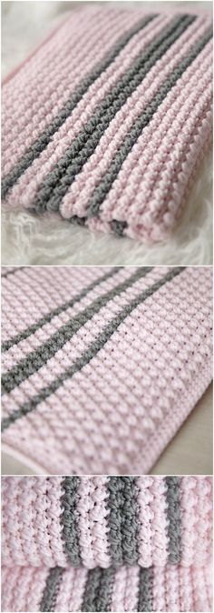 Here we have shared a grand list of New Free #Crochet #Patterns that all makes perfect cuddly toys and can also be used as best lovey to your babies!Bobbles and Stripes Crochet Baby Blanket