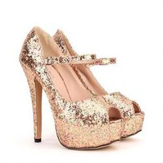 Stunning Women's Peep Toed Shoes With Sparkling Glitter and Stiletto Design