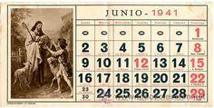Hoja calendario *JUNIO 1941* - Con imagen *HUECOGRABADO MUMBRÚ y Cª - Barcelona*