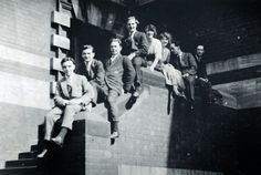 "LDFW4: Leeds College Of Art - ""There Are Plenty of Vital People in Leeds"" // Drawing Exam Students, Vernon Street Steps , 1st June 1920. From left to right, unknown, Geroge Stevenson*, Raymond Coxon*, Henry Moore*, Dorothy White, Connie Castle, Harry Taylor*, Geoffrey Kniveton. (* All fought in the 1914-1918 Great War)"