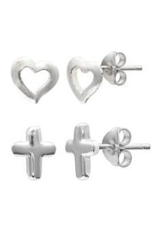 Belk Silverworks Women Fine Silver Plate Duo Set Heart & Cross Stud Earrings - Silver - One Size