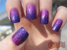 I used 3 coats of Nubar Petunia Sparkle, with Nubar Violet Sparkle sponged on the tip half of the nail. Topped everything off with 2 coats of Seche Vite top coat to smooth out the glitter coats. :)