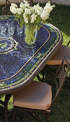 Our expressive and masterful Mosaic Tabletops from KNF-Neille Olson Mosaics boast iridescent waves of color, deep sophisticated hues, fresh designs and durability measured in decades.   Frontgate: Live Beautifully Outdoors