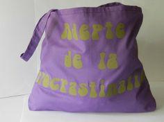 "Cabas violet ""Adepte de la procrastination "" & sa pochette liberty"