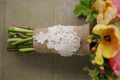 burlap and lace wedding bouquet ♥