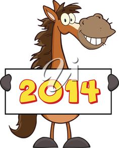 iCLIPART - Cartoon Clip Art Illustration of a New Year Horse #newyear #horse #clipart