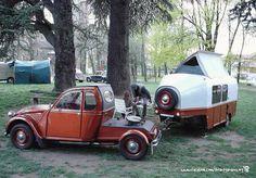 Citroen 2CV, camping trailer