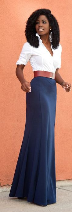 White Shirt Navy Maxi Skirt Fall Inspo by Style Pantry good, i'm keen on that…                                                                                                                                                     More