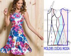 Faça a análise do desenho da transformação do molde de vestido evasé aguarela…
