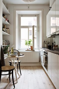 Galley Kitchen Design (Small, Unique, Modern Galley Kitchen Ideas) Domestic galley kitchen design permits plenty of woodwork to be put into a part of the kitchen, you can have a door or walkways at the finish of the run. Small Galley Kitchens, Galley Kitchen Design, Galley Kitchen Remodel, Modern Kitchen Design, Kitchen Designs, White Kitchens, Kitchen Renovations, Furniture Layout, Kitchen Furniture