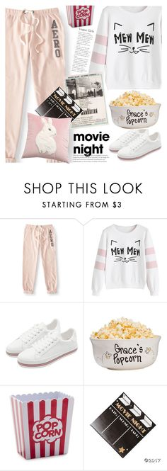 """""""Bring the Popcorn: Movie Night"""" by vanjazivadinovic ❤ liked on Polyvore featuring Aéropostale, Sur La Table, velvet, polyvoreeditorial and zaful"""
