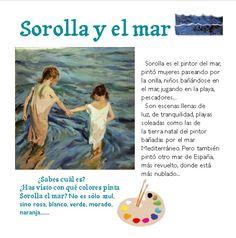 HOY CONOCEMOS ALGUNOS DATOS Y ANÉCDOTAS SOBRE LA VIDA DE JOAQUÍN SOROLLA. DANIEL MORENO, TAMBIÉN NOS HABÍA TRAÍDO AL COMENZAR EL PROYE... Ap Spanish, 4 Kids, Projects For Kids, Art School, Great Artists, Winnie The Pooh, Activities For Kids, Disney Characters, Fictional Characters