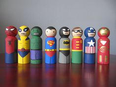 Super Hero Peg People - Set of 8 Wooden Hand Painted - 3.5. $50.00, via Etsy.