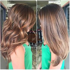 Balayage straight and curly brunette hair with highlights Straight Brunette Hair, Brunette Hair With Highlights, Brunette Color, Straight Hair With Highlights, Caramel Highlights, Bayalage On Straight Hair, Ombre With Highlights, Straight Hair With Layers, Highlighted Hair For Brunettes