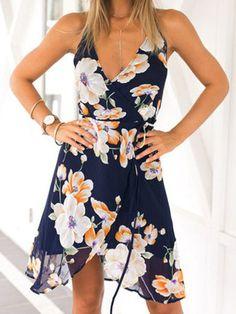 robe à bretelle en mousseline -multicolore -French SheIn(Sheinside)