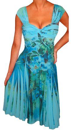 Funfash Plus Size Blue Empire Waist Cocktail Cruise Dress