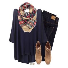 Loose tee, plaid scarf & camel ankle boots