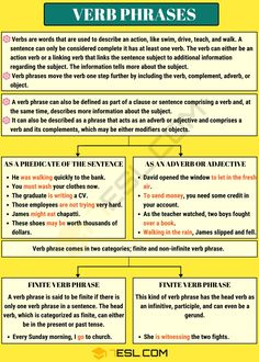 Verb Phrase: Definition, Functions and Useful Examples - 7 E S L Good Grammar, Teaching English Grammar, English Lessons, Learn English, Writing A Cv, Verb Examples, Linking Verbs, Grammar Posters, Action Verbs