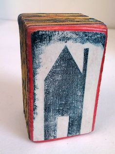 Little Blue House Collagraph Print on Wood by Fiona Wilson.