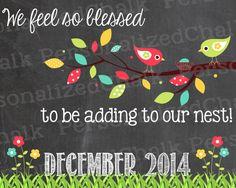 Spring Pregnancy Announcement Chalkboard by PersonalizedChalk, $8.00