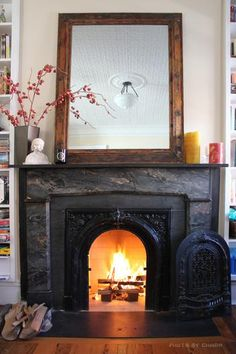 Black Marble Fireplace Summer Doors