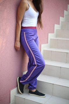 Items similar to Vintage Purple Dance Wide Pants Retro Jogger Track Stripes Pants/Waistband Shiny Street Sweatpants/Retro Hipster Hip Hop Street on Etsy Vintage Fashion 90s, Joggers, Sweatpants, Wide Pants, Woman Style, Bossbabe, Hiphop, Retro Vintage, Dancer