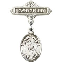 Sterling Silver Catholic Baby Badge. Great for godparents to give to their godchild.