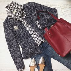 got navy tweed jkt. Get gingham shirt, jeans, cherry tote and silver flats. Similar shoes in asos. Classy Outfits, Pretty Outfits, Casual Outfits, Cute Outfits, Fashion Outfits, Fall Winter Outfits, Autumn Winter Fashion, Over 50 Womens Fashion, Mature Fashion