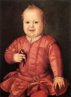 Bronzino, Portrait of Giovanni Medici as a Child.  Coral & a goldfinch!