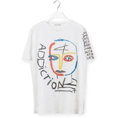 Each X Other Printed T-Shirt (£72) ❤ liked on Polyvore featuring tops, t-shirts, loose white t shirt, white tees, loose t shirt, crew-neck tee and crew t shirts