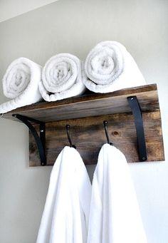 DIY Rustic towel organizer.
