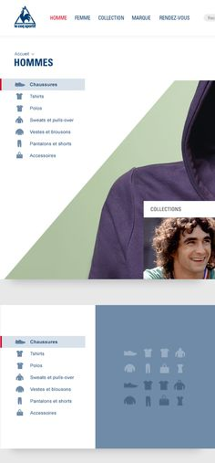 Le Coq Sportif website - side menu with icons, shaded when selected/hovered