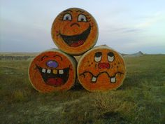 Hay bales painted for Halloween