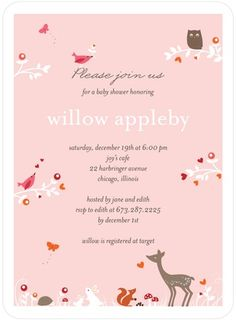 Baby Shower Invitations Woodland Wonder - Front : Tea Rose