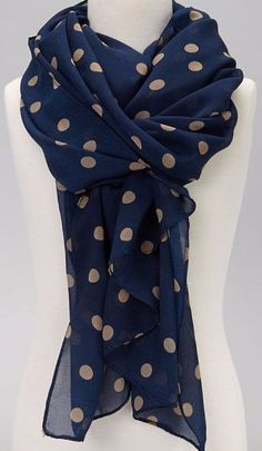 LADIES WOMENS DARK NAVY WITH LARGE WHITE POLKA DOT NECK SCARF NECK TIE ACCESSORY