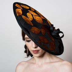 Wide Brim Kentucky Derby Hat. Black Sinamay Saucer. Autumn Leaves. Devore Velvet. Couture Headpiece. Racing Fashion. Wedding Fascinator.