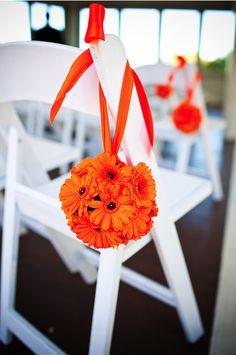 Orange gerbera ceremony decorations - Designer Wedding Flowers