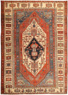 Antique Persian Heriz Serapi Oriental Carpet / Rug 43714 Detail/Large View - By Nazmiyal
