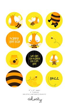 """Bumble Bee Printable 1"""" Circle (Cupcake Toppers, Stickers, Tags, etc). $3.90, via Etsy."""