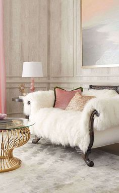 This Settee would look beautiful in my living room. Old Hickory Tannery Sherwood Sheepskin Settee from Neiman Marcus. Home Design, Design Salon, Canapé Design, Deco Design, Interior Design, Modern Design, Design Ideas, Design Inspiration, Wall Design
