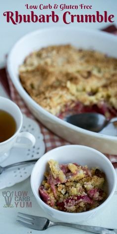 A delicious gluten free rhubarb crumble that's also low in carbs. It's one of the best ways to enjoy this tart spring crop! | LowCarbYum.com via @lowcarbyum