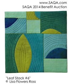 Art quilt by Lisa Flowers Ross. Green aqua teal turquoise
