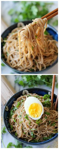 Sesame Soba Noodles - With a simple Asian vinaigrette and soba noodlesyou'll have a hearty meal on the dinner table in just 15 minutes!