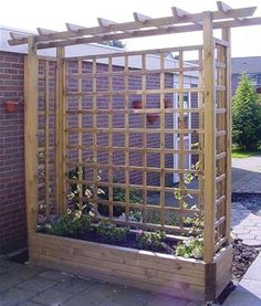 This wooden trellis trough planter makes a fantastic screen in the garden upon which to grow up climbing plants for an absolute riot of colour.