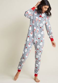 14579f8f39 Cozy Chill Out One-Piece Pajamas in Snowman Soiree in XL