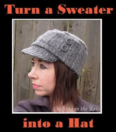 Crafting in the Rain: Sweater Hat Tutorial--Kind Of
