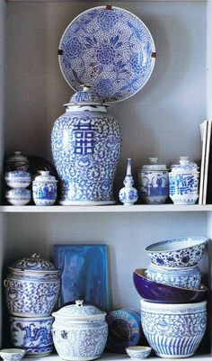 collection of blue china