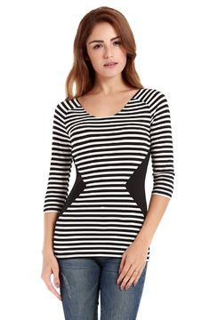 VESSOS  3/4 Sleeve Basic Casual Stripe Pattern T-Shirt