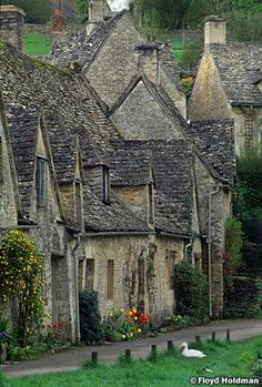 cottage row ... Bibury in the Cotswolds, England