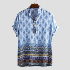 Mens Breathable Ethnic Printed Short Sleeve Stand Collar Henley Shirt is best and cheap on Newchic. Cool Shirts, Casual Shirts, Men Shirts, Cheap Mens Fashion, Ethnic Print, Henley Shirts, Summer Shirts, Printed Shorts, Types Of Sleeves